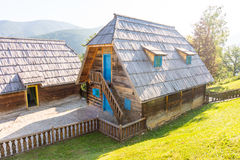 Serbia: Traditional houses of the Drvengrad Kusturica royalty free stock image