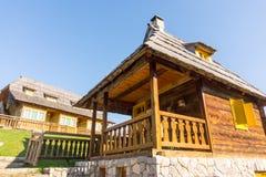 Serbia: Traditional houses of the mountain slopes, Drvengrad Kusturica stock photos