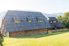 Serbia: Traditional mountain house in Drvengrad Kusturica stock photo