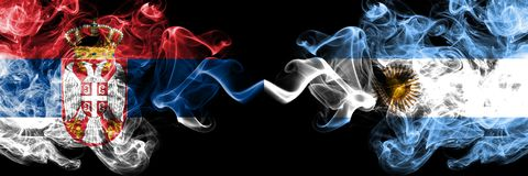 Serbia vs Argentina, Argentinian smoky mystic flags placed side by side. Thick colored silky smokes combination of Serbian and. Argentina, Argentinian flag stock illustration