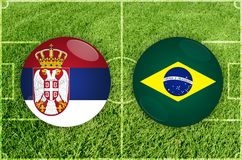 Serbia vs Brazil football match Stock Images