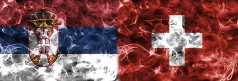 Serbia vs Switzerland smoke flag, group E, Fifa football world c. Up 2018, Moscow, Russia Royalty Free Stock Photos