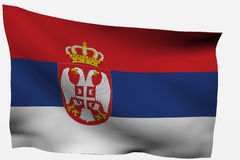 Serbian 3d flag. Isolated on white background Stock Photo