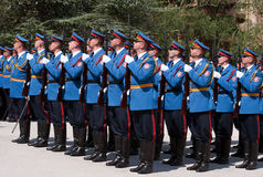 Serbian army guards salutes the flag royalty free stock photo