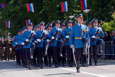 Serbian army guards unit march Stock Photos