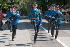 Serbian army guards unit march-1 Stock Photo