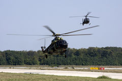 Serbian army training. Serbian soldiers are waiting for landing in helicopter stock photography