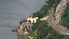 Serbian bank of the Danube. stock footage