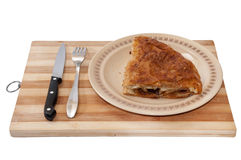 Serbian burek pie served on the wooden board Stock Photos