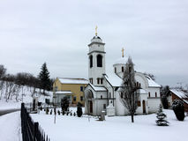 Serbian Church in winter. Under snow in Vrnjacka Banja royalty free stock photo