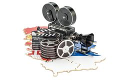 Serbian cinematography, film industry concept. 3D rendering. Isolated on white background Stock Images