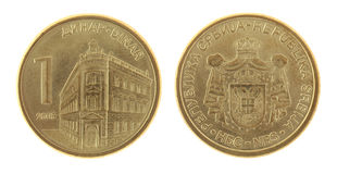 Serbian Coin Isolated on White Royalty Free Stock Photography