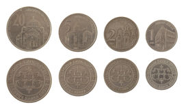 Serbian Coins Isolated on White Stock Photography