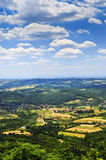 Serbian countryside. Landscape view of rural Serbian countryside with farms and towns stock photos