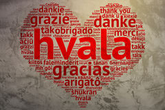 Serbian, croatian Hvala - Heart shaped word cloud Thanks, Grunge Royalty Free Stock Photo