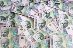 Serbian Currency - A Heap of 5000 Dinar Banknotes Stock Photos