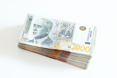 Serbian Currency - A Heap of 2000 Dinar Banknotes Royalty Free Stock Image