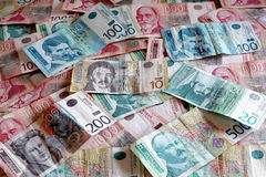 Serbian Currency - A Heap of Dinar Banknotes Stock Photos