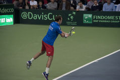 Serbian-Czech Republic doubles match-9 Royalty Free Stock Photo
