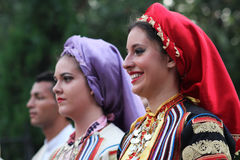 Serbian dancers. Women in folklore costume, part of International folklore festival in Sofia Royalty Free Stock Photography