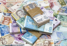 Serbian Dinar. And another Currency on the Desk royalty free stock image