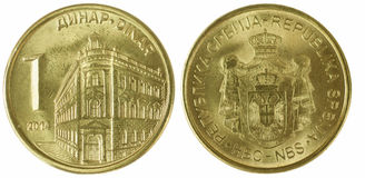 Serbian dinar. Both sides of serbian dinar isolated on white royalty free stock photos