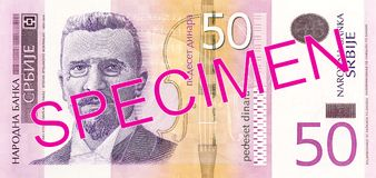 50 serbian dinar note obverse. Specimen stock photos