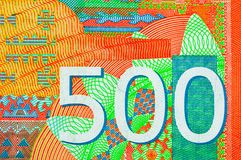 Serbian 500 dinara currency banknote, close up. Serbia money RSD dinar cash, macro view. stock photography