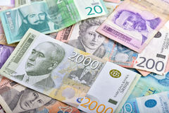 Serbian dinars banknotes. Background of pile of different Serbian banknotes RSD royalty free stock photo