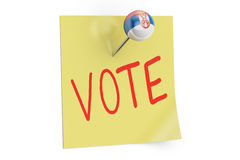 Serbian election concept. Vote text on a sticky note pinned push Royalty Free Stock Photos
