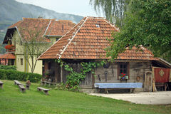 Serbian ethnic village. Detail from Serbian traditional ethnic village, Zlakusa, Serbia stock photo