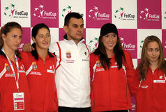Serbian Fed Cup team. BELGRADE-APRIL 22: Serbian team after press  conference.FED CUP SERBIA vs Slovak Republic,APRIL 22, 2010 in Belgrade,Serbia Stock Photography