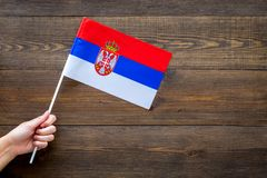 Serbian flag concept. Hand hold small flag on dark wooden background top view copy space. Serbian flag concept. Small flag top view royalty free stock image
