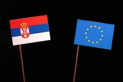 Serbian flag with European Union EU flag  on black Royalty Free Stock Image