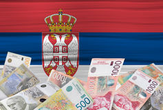 Serbian flag and money Royalty Free Stock Photography