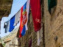 Serbian flag in Montenegro Stock Photo