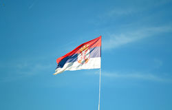 Serbian flag. National Serbian flag in wind stock photo