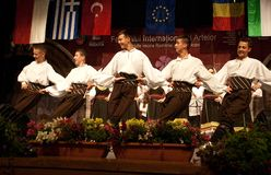 Serbian folk dancers at a festival Stock Images