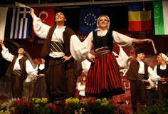 Serbian folk dancers at a festival. Serbian folk dancers from KUD Dimitrije KOTUROVIÄŠ ensemble - BELGRADE, SERBIA, dancing at the International Festival of royalty free stock photography