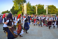 Serbian folk dancers at parade Royalty Free Stock Photo