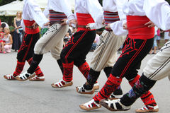 Serbian folklore dancers. Serbian dancers in folklore costume, part of International folklore festival in Sofia stock image