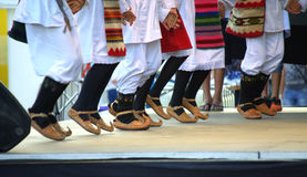 Serbian folklore dancers costumes stage performance Stock Image