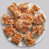 Serbian Gibanica Crumpled Cheese Pie Slices Offered On Porcelain Stock Image