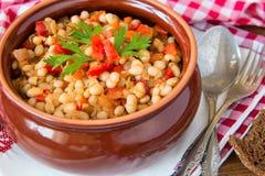 Serbian kidney beans  goulash whith onion Stock Photo