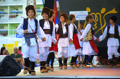 Serbian kids folklore dancing stage performance Stock Image