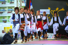 Serbian kids folklore dancing stage performance Royalty Free Stock Image