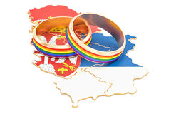 Serbian map with LGBT rainbow rings, 3D rendering Stock Photos