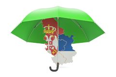 Serbian map under umbrella. Security and protect or insurance co Royalty Free Stock Image
