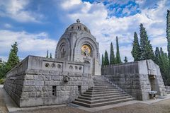 Serbian Mausoleum in military cemetery Thessaloniki, Greece. Thessaloniki, Greece - AUGUST 2017: Military cemetery from the First World War, Zejtinlik royalty free stock photo