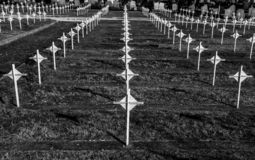 Serbian military cemetery in Bitola. White crosses, Macedonia stock photos